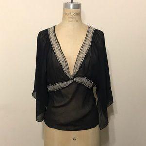 Studio M black cream silk tissue hem blouse